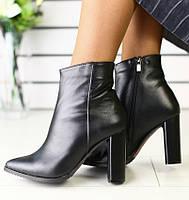 36,37,40 Модные демисезонные ботильоны женские ботинки кожаные на толстом высоком каблуке черные T55ME01-1R