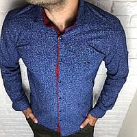 Рубашка мужская S, M, L,XL, XXL длинный рукав. Турция. Молодежная турецкая рубашка трансформер. Синий