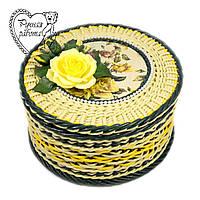 Плетені скринька Квіти кругла середня, діаметр 22 см, висота 12 см Під замовлення. Ручна робота