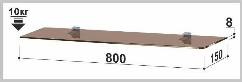 Полка стеклянная Gamma PL12 P (150х800х8) (прямоугольная прозрачная, графит, бронза)