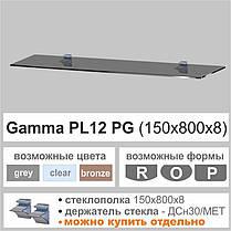 Полка стеклянная Gamma PL12 P (150х800х8) (прямоугольная прозрачная, графит, бронза), фото 2