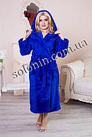 Женский махровый халат. Синий.