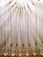 Тюль турецкая вышивка золотом на фатине