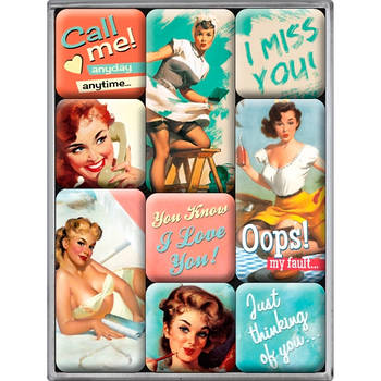 Набор из 9 магнитов Nostalgic-Art Say It 50's - Nice Slogans (83051)