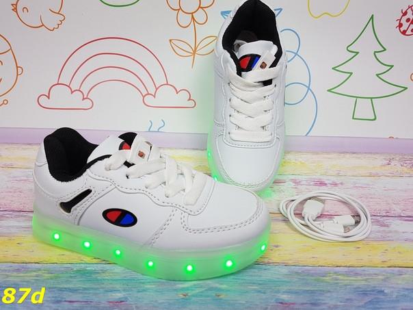Детские подростковые кроссовки кедыс LED-подсветкой на  шнуровке  белые