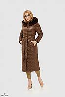 Куртка-пальто утепленная стеганая ML коричневая