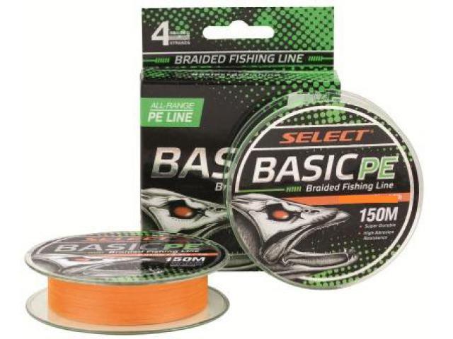 Шнур Select Basic PE 150m (оранж.) 0,12мм 12LB/5,6kg