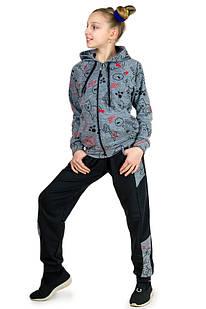 Трикотажный спортивный костюм для девочки Кошки (серый)