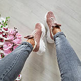 Женские зимние замшевые кроссовки на высокой подошве (пудра), фото 10