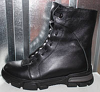 Ботинки черные кожаные женские зимние от производителя модель РИ1011, фото 1
