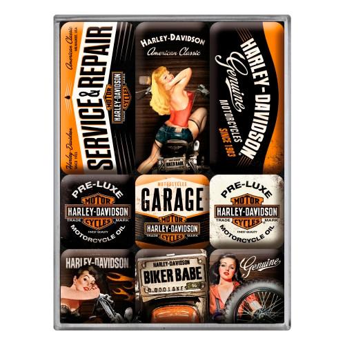 Набор из 9 магнитов Nostalgic-Art Harley-Davidson Garage Babes (83074)