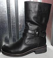 Сапожки черные кожаные женские зимние от производителя модель РИ2012, фото 1
