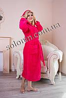 Женский махровый халат с капюшоном.