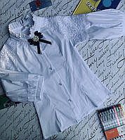 Блуза на девочку, рукав 3/4, р. 128-152, белый, фото 1