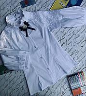 Блуза на дівчинку, рукав 3/4, р. 128-152, білий, фото 1