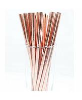 Трубочка для напитков картонная  розовое золото