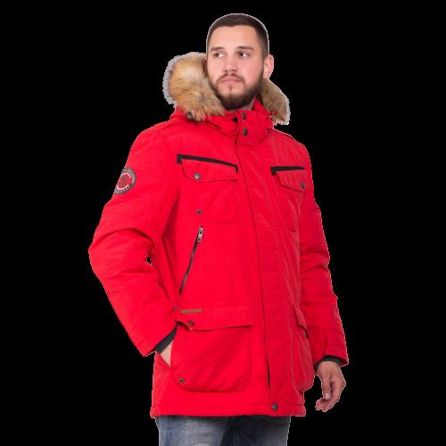 Мужская зимняя куртка Camel Active 420660-50 с мехом красного цвета