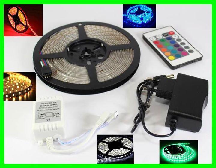 Разноцветная RGB 3528 LED лента 5м с пультом ДУ и Блоком Питания Уличная Гирлянда