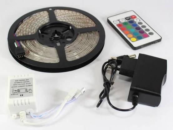 Разноцветная RGB 3528 LED лента 5м с пультом ДУ и Блоком Питания Уличная Гирлянда, фото 3