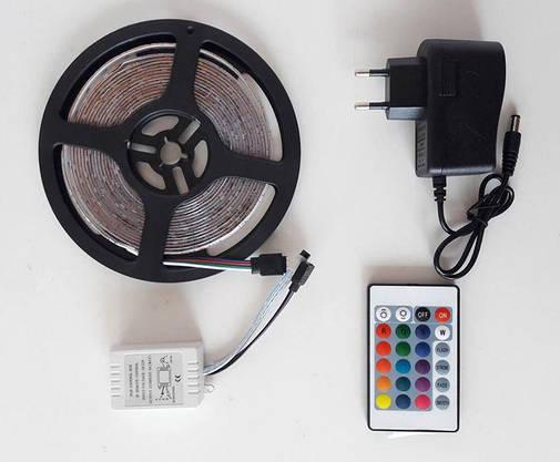 Разноцветная RGB 3528 LED лента 5м с пультом ДУ и Блоком Питания Уличная Гирлянда, фото 2
