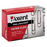 Скрепки Axent 4112-A никелированные, 33 мм, 100 штук, фото 2