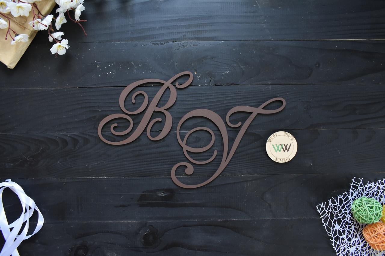 Свадебные инициалы из дерева, деревянные буквы на свадьбу, инициалы молодых из дерева