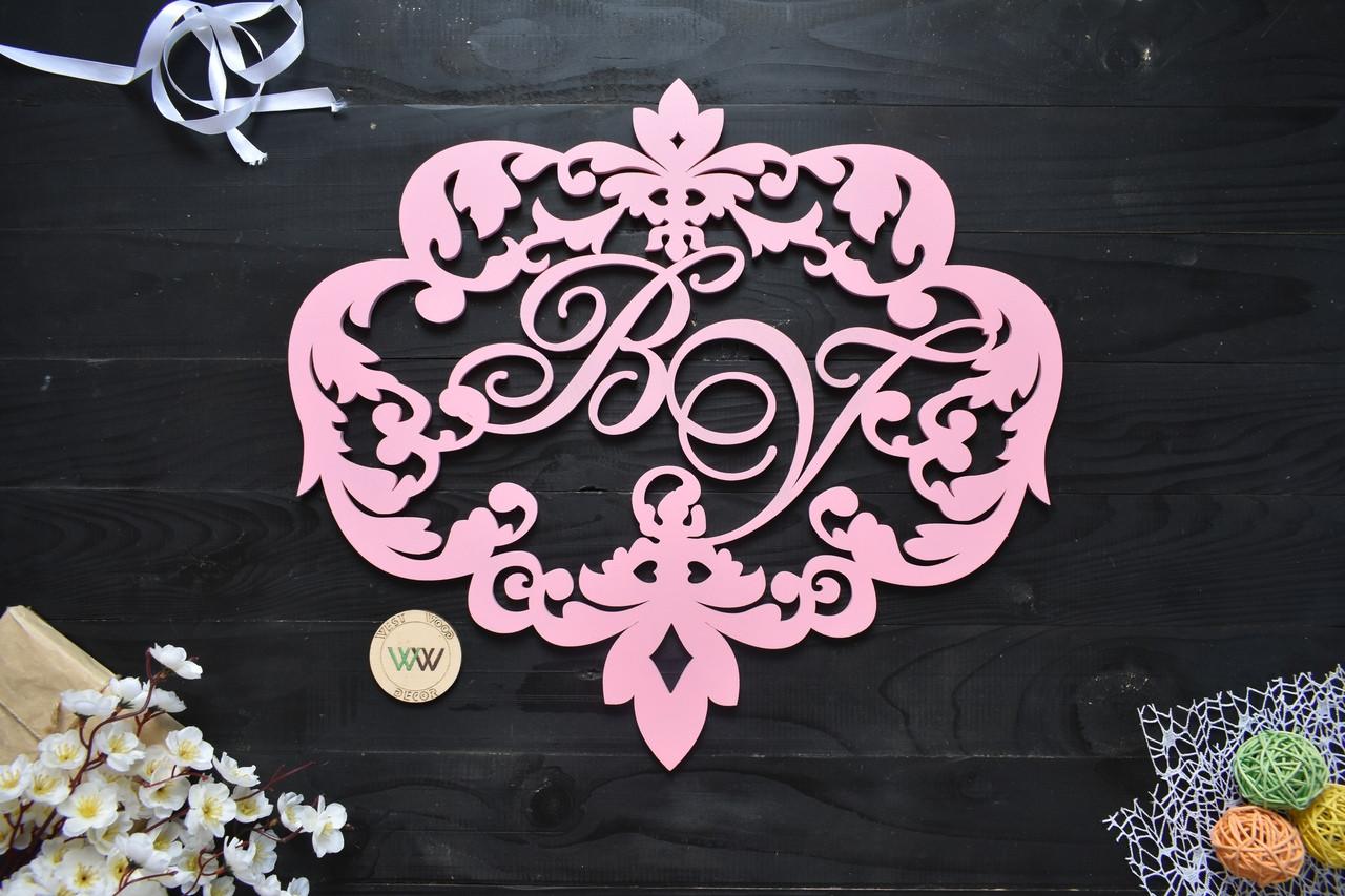 Свадебный герб, монограмма с инициалами, инициалы молодых, объемные буквы на свадьбу, семейный герб