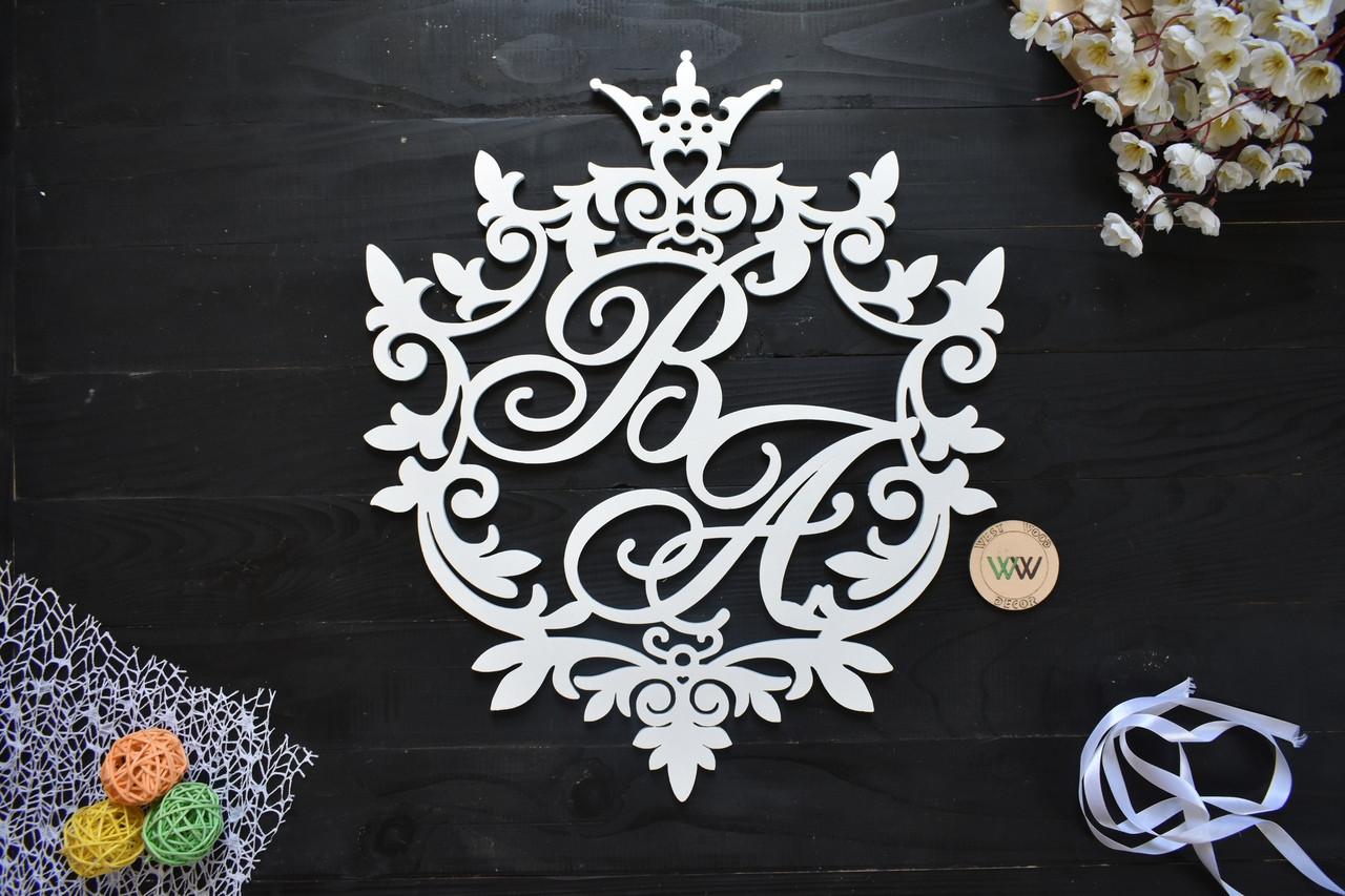 Свадебный герб, монограмма с инициалами, инициалы молодых, объемные буквы на свадьбу, семейный герб с короной