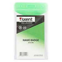 Бейдж Axent 4512-04-A вертикальный, глянцевый, зеленый, 51х83 мм