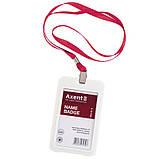 Шнурок для бейджа з металевим кліпом Axent 4532-06-A, червоний, фото 2