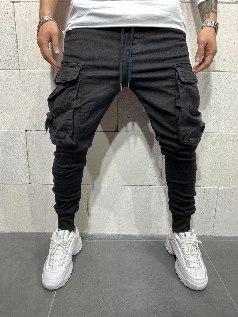 Мужские джинсы с большими карманами (черные) - Турция
