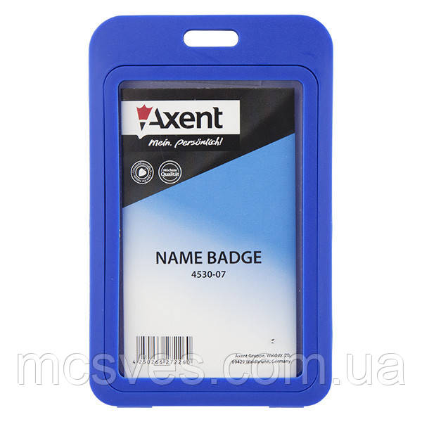 Бейдж Axent 4530-07-A вертикальный, PP, синий, 50х84 мм
