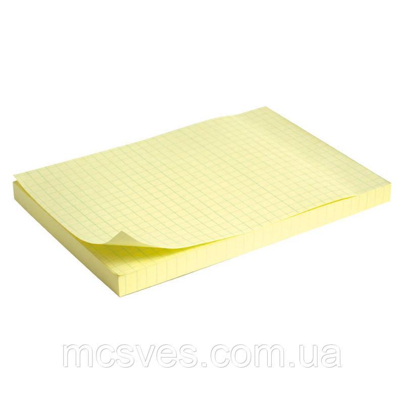 Блок бумаги с липким слоем Delta D3330-02 100x150 мм, 100 листов, клетка, желтый