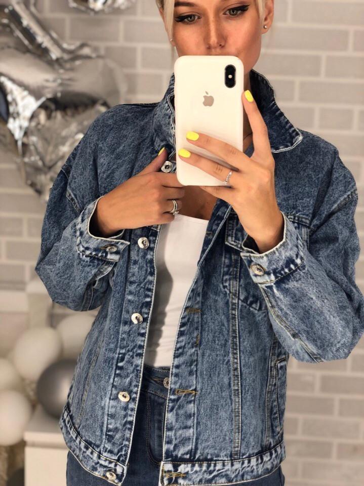 Короткий джинсовый пиджак