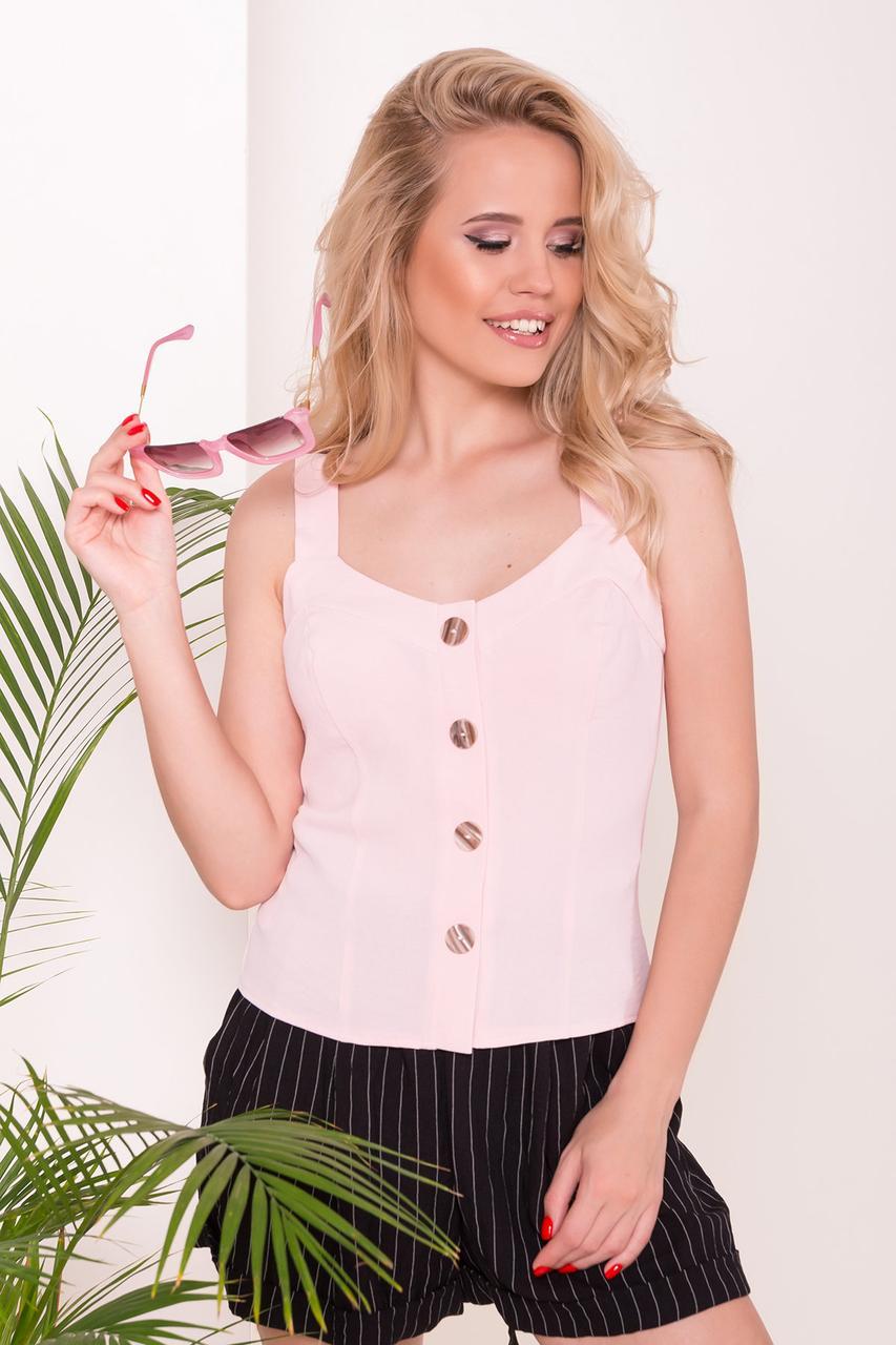 Невесомая женская блуза на тонких бретелях (S, M, L) розовая