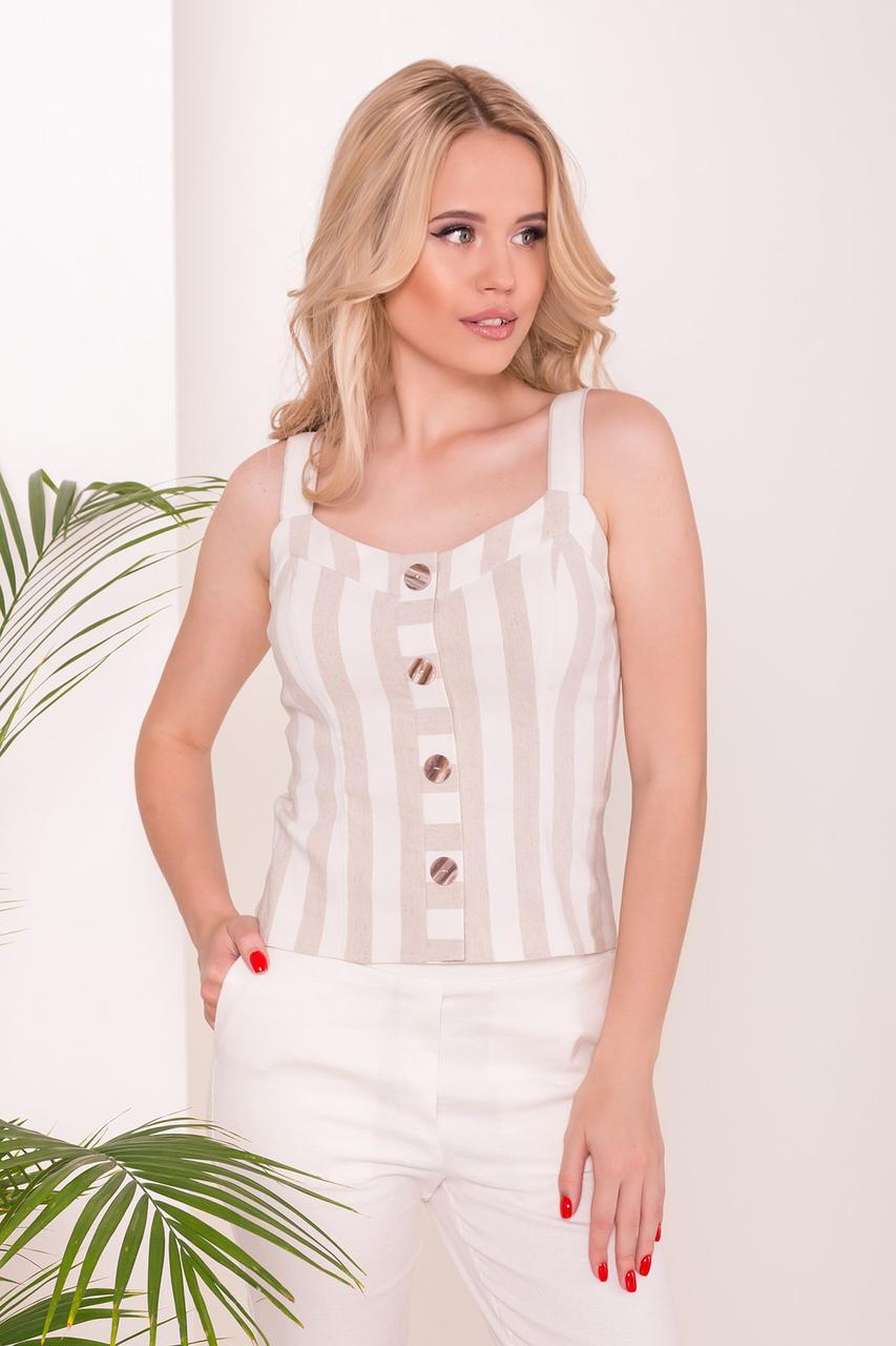 Невесомая женская блуза на тонких бретелях (S, M, L) в полоску
