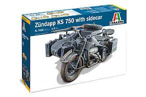 ZUNDAPP KS 750 с коляской. Сборная модель немецкого военного мотоцикла. 1/9 ITALERI 7406