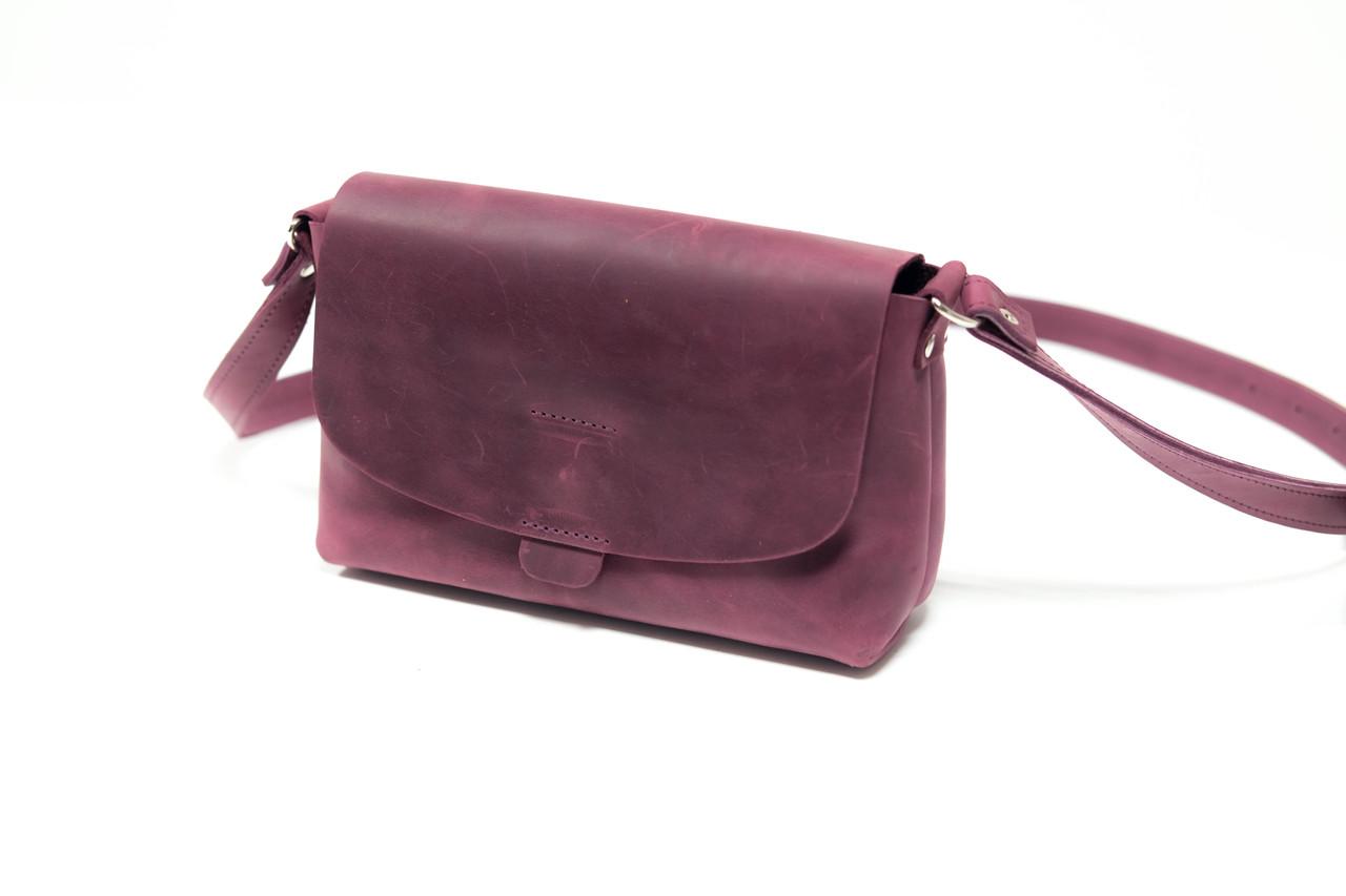 Сумка женская. Кожаная сумочка Итальяночка Винтажная кожа цвет Бордо