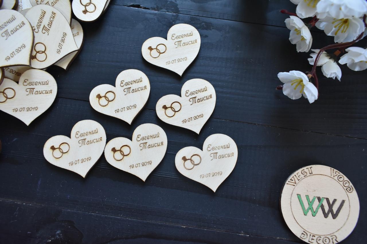 Свадебные фишки с именами и датой свадьбы, презент гостям, валюта для конкурсов, сердечки