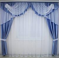 Готовые шторы с ламбрекеном в гостинную, фото 1