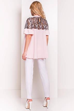 Нежная женская блуза свободного кроя (S, M, L) светло-розовая, фото 2