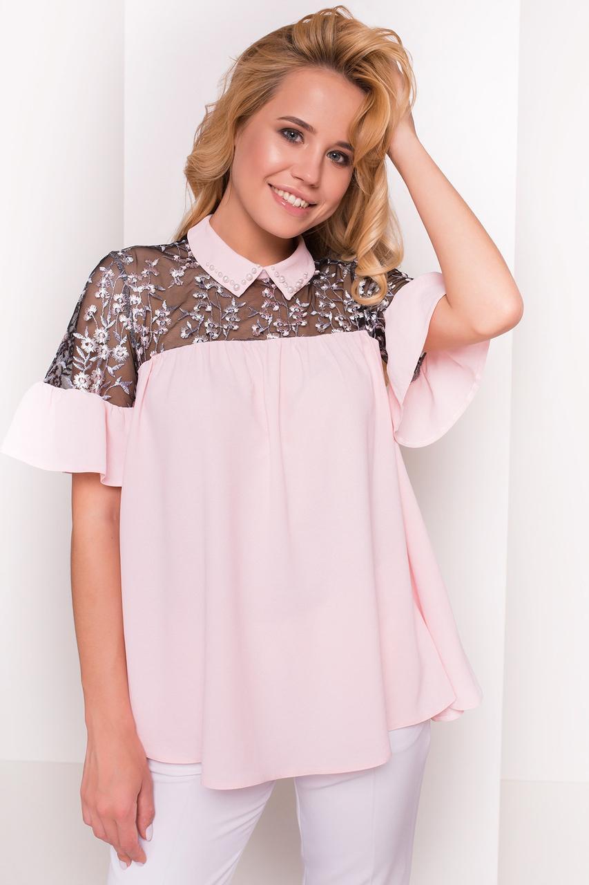 Нежная женская блуза свободного кроя (S, M, L) светло-розовая