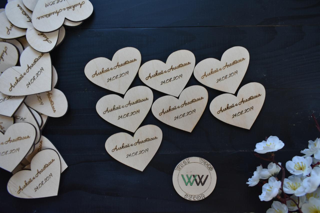 Свадебные фишки с именами молодых и датой свадьбы, презент гостям, валюта для конкурсов, сердечки