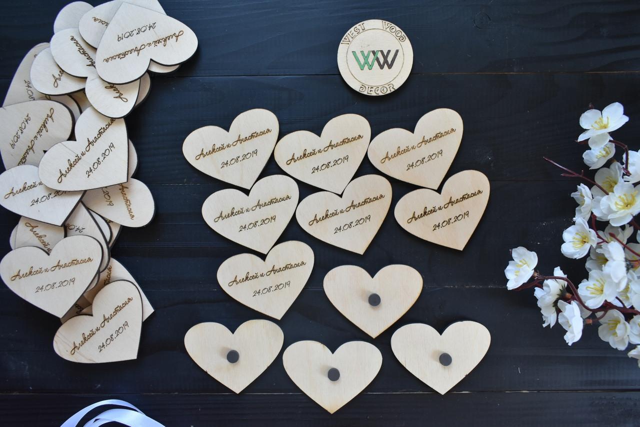 Свадебные фишки магниты с именами молодых и датой свадьбы, презент гостям, валюта для конкурсов, сердечки