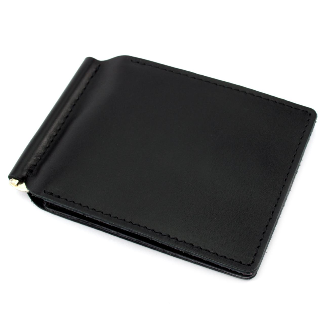 Зажим для денег кожаный Crez-51 на магните (черный)