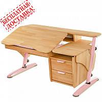 Парта Эргономик деревянная с тумбой бук розовый, фото 1