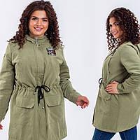 Куртка женская парка батал размеры 50-60 цвет оливковый