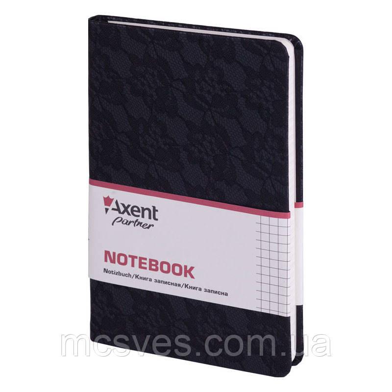 Книга записная Axent Partner Lace 8208-01-A, 125х195 мм, клетка, черная