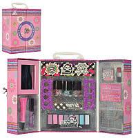 Детская косметика в чемодане, тени, помада, лак, набор для маникюра, безопасный детский make up, 88008