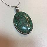 Красивый кулон с камнем хризоколла в серебре., фото 4